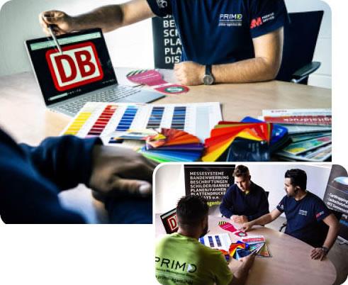 Projektplanung und Farbauswahl - Deutsche Bahn - Primo Agentur